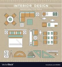 Floor Plan Elements Interior Design Elements Tools Royalty Free Vector Image