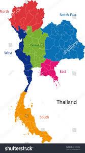 map kingdom thailand provinces colored bright stock vector