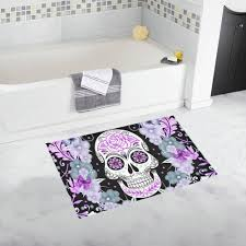 Flower Bath Rug Sugar Skull And Flowers Bath Doormat Non Slip Bath Mat Rug Floor