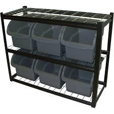 Storage Bin Shelves by Edsal Single Side Metal Shelving Unit With 6 Bins U2014 42in W X 16in