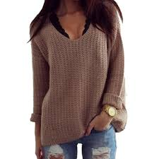 brown sweater 1pc s sleeve crew neck cotton v neck autumn sweater