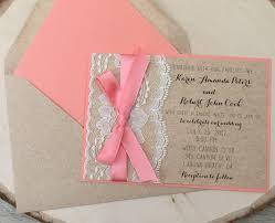 coral rustic wedding invitation lace invitation rustic lace
