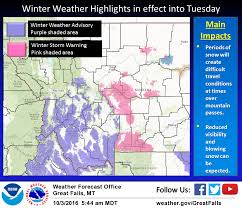 Montana Weather Map by Noaa Winter Storm Warning For Montana Today 10 15