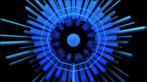abstract audio visualizer meter of cube rings high definition