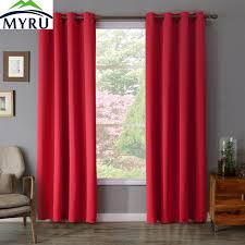 myru 100 polyester red color dyed window curtains solid curtains