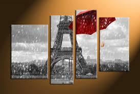 Eiffel Tower Home Decor 4 Piece Black And White Red Umbrella Art