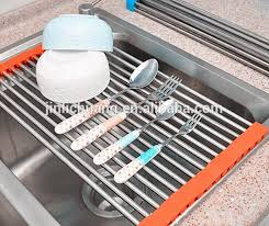 Kitchen Sink Drainer Mat Stainless Steel Kitchen Sink Folding Roller Drainer Tray Roll Mat