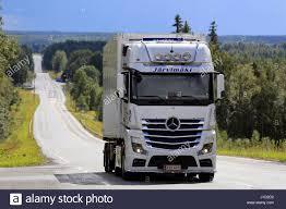 mercedes truck white ikaalinen finland august 11 2016 white mercedes benz actros