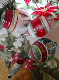 3 vintage 1940s glass tree ornaments clear color