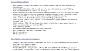 electrician duties resume cv cover letter