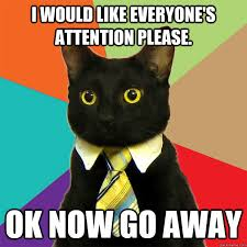 Go Away Meme - i would like everyone s attention please cat meme cat planet
