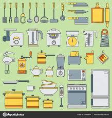 jeux pour faire la cuisine ligne jeu d icônes vectorielles en plat ustensiles de cuisine