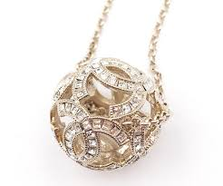 silver crystal ball necklace images Chanel gold silver cc crystal ball necklace earrings tradesy jpg