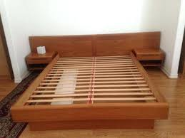 Wooden Platform Bed Frame Wood Headboard Mid Century Wood Platform Bed Frame