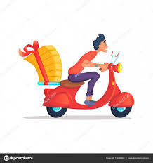 tricycle cartoon delivery boy ride scooter motorcycle service order worldwide