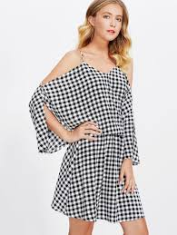 dolman sleeve gingham blouson dress shein sheinside