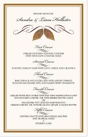 fall theme wedding menu cards u0026 dinner party menu cards shop