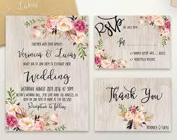 wedding invitations etsy boho wedding invite etsy