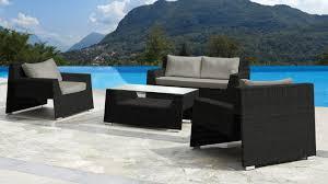 canape jardin resine salon jardin 2 fauteuils table et canapé résine tressée tiruana