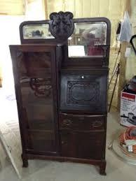 Antique Curio Cabinet With Desk Details About Antique Oak Handkerchief Table Top Vanity Desk