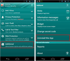 uninstall app android how to uninstall kaspersky mobile security android