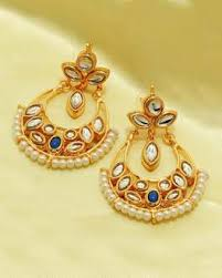 Buy Kundan Embellished Dangler Earrings Designer Earrings Online Shop Exclusive Hoops Danglers Studs