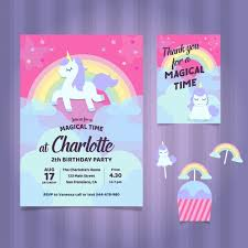 unicorn birthday party unicorn birthday party invitation vector free
