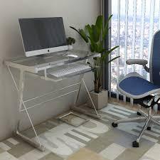 Metal And Glass Computer Desk Ryan Rove Becker Metal And Glass Computer Desk In Silver