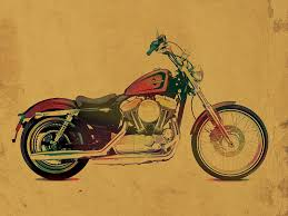 harley davidson motorcycle profile portrait watercolor painting on