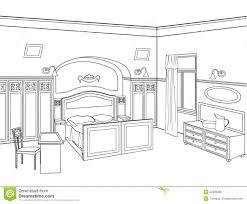 bedroom furniture editable illustration of an outline sk stock