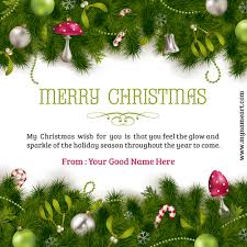 write name on merry ornaments decoration colorful card