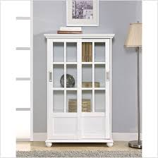 wall mounted wood and glass bookshelf aside white interior door