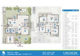 floor plan of west yas villas yas island