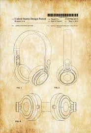 beats headphone patent patent print wall decor headphone