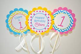 girls 1st birthday centerpiece sticks chevron birthday