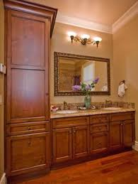 Bathroom Linen Cabinets Adorable Fantastic Bathroom Vanity With Linen Cabinet On And