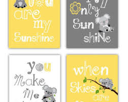 Yellow Gray Nursery Decor Koala Nursery Decor Etsy