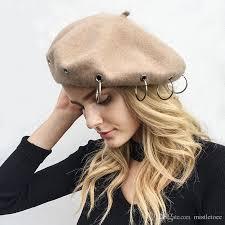 barret hat 2018 fashion iron ring soft women beret hat 2017 wool streetwear