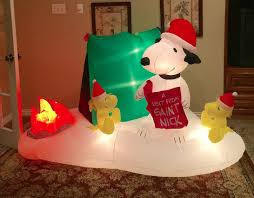 image gemmy prototype christmas snoopy camping scene inflatable