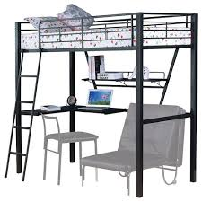 Black Bunk Bed With Desk Senon Loft Bed With Desk Silver And Black Acme Target