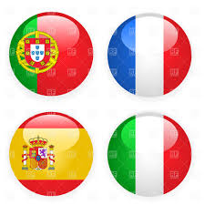 Map Of Spain And Italy by Spain Italy France And Portugal Button Flags Vector Image 1399