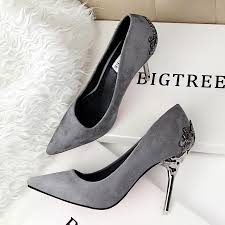 bigtree 2016 red bottom high heels carved metal fashion shoes