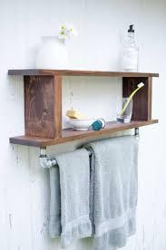 magnolia rustic farmhouse industrial bathroom shelf with towel