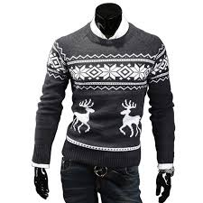 stylish neck slim sweater coats reindeer knitted