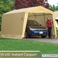 Garage With Carport Carport Autoshelter 10x15 Instant Garage