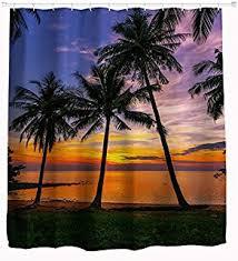 amazon com summer beach blue sea palm tree waterproof polyester