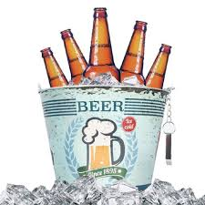 cartoon beer bottle metal ice beer bucket with bottle opener for garden party bbq