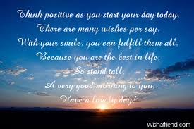 think positive as you start your motivational morning message