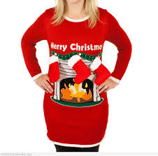 funny ugly christmas sweater ladies women fireplace with 3d stockings