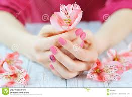hands with pink color nails manicure stock photo image 89954527